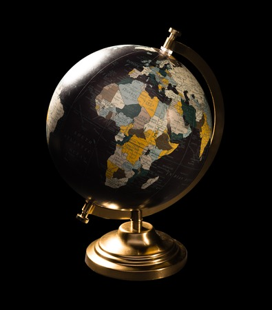 Antique Looking Current Globe isolated on black background Zdjęcie Seryjne
