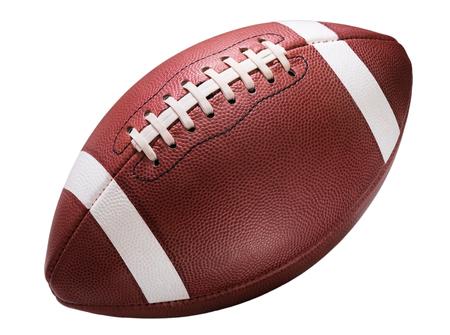 pelota: alta escuela de fútbol juvenil de rayas americano de la universidad aislado en el fondo blanco diagonal en marco sin sombra
