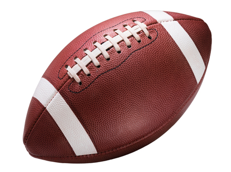 american football: American college high school junior striped football isolated on white background diagonal in frame without shadow