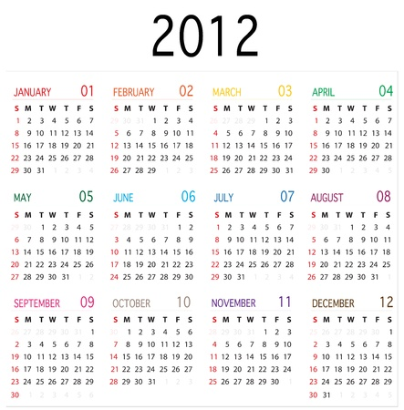 Colored 2012 Calender Stock Vector - 10730290