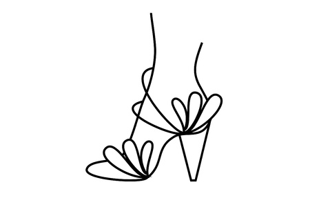 high heeled: foot design for drawing woman shoe and high heeled shoe Stock Photo