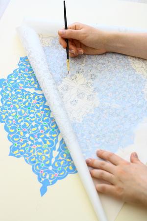 the gilding: Making gilding with Ottoman islamic figures Stock Photo