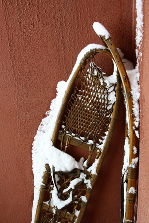 snowshoe: old snowshoe with snow on it