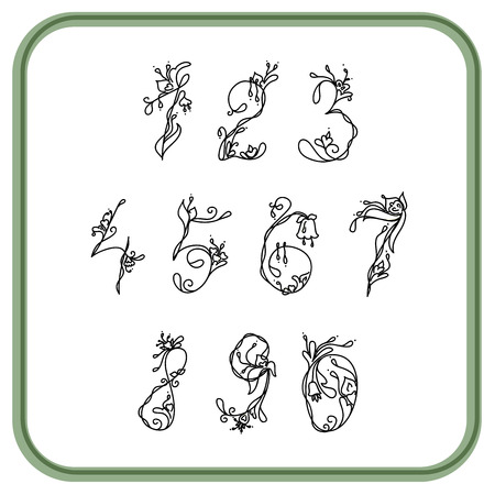 numbers: Numbers white and black with exotic flowers