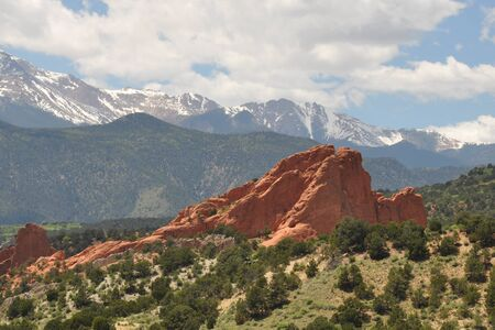 Mountains and Red Rocks at Garden of the Gods