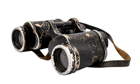 vintage army binoculars  isolated on a white background photo