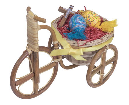 red cross red bird: easter bike with blue and yellow eggs with isolated white backgroud Stock Photo