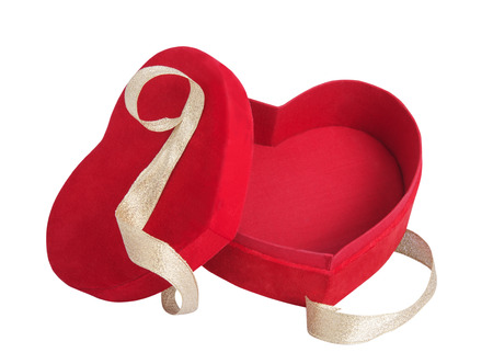 box red heart and golden ribbon with white background photo
