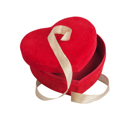 red heart and golden ribbon with white background photo