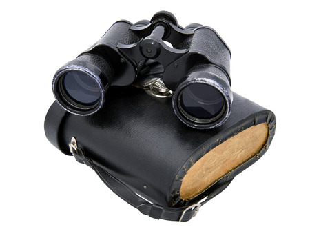 binoculars  horizontal and box with white background photo