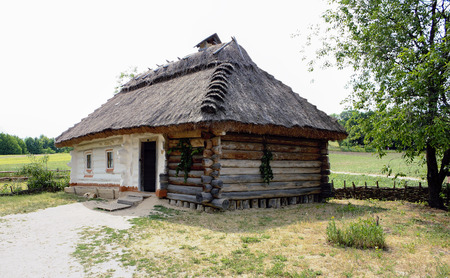 ukranian: rustic ukranian house surrounded by trees Stock Photo
