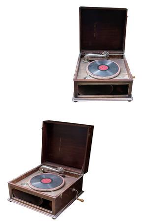 herramientas de trabajo: el viejo tocadiscos primer aislado en el fondo blanco Foto de archivo
