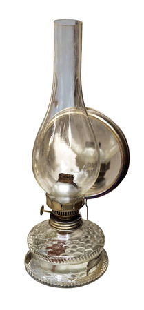 vintage kerosene lamp on white background photo
