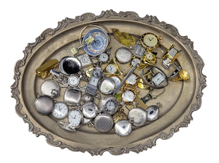 silver tray: silver tray with antique accessories on white background