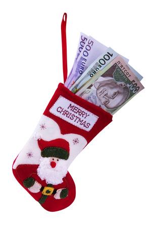 household money: christmas sock and ukrainian money