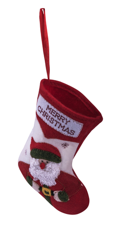 christmas sock: red christmas sock with white background Stock Photo