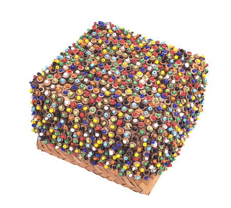 wickerwork: wickerwork color box of beads with white background