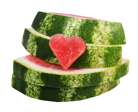 super cross: closed-up of fresh slices of red watermelon with white background