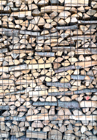 stack of firewood country life style and retro custom to stoke of stove in wooden house