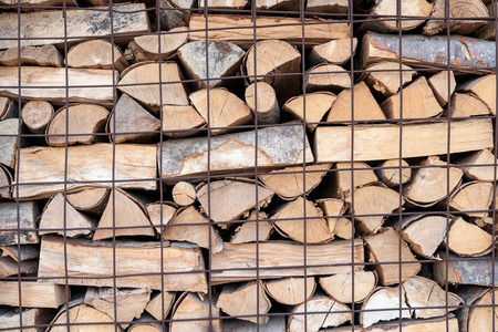 stack of firewood for fireplace country life style in Greece