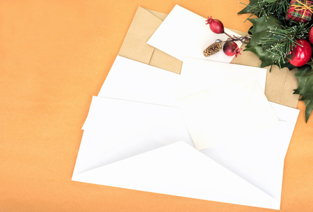 envelope decoration: New Years letter and white and beige envelopes Stock Photo