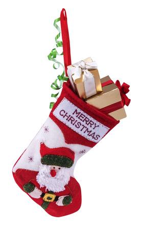 クリスマス靴下、白い背景で隔離のギフト