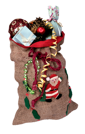 sackcloth: sackcloth bag with gifts Santa Claus isolated on white background