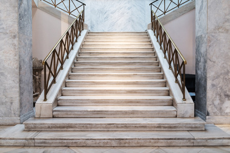 lamp made of stone: marble stairs indoors - construction detail