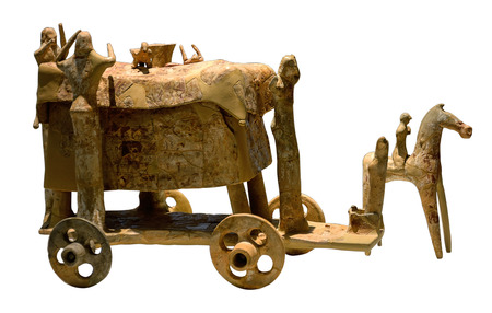 ancient wagon for burial rite isolated on the white background
