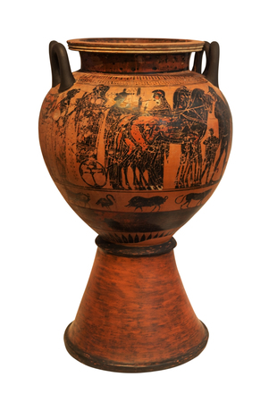 Ancient Greek Vase Depicing A Chariot Isolated On The White