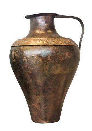 antique vase: decorative antique bronze vase isolated on the white background Stock Photo