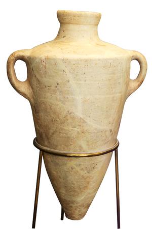 amphores grecques beige isolé sur le fond blanc