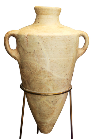 beige greek amphora isolated on the white background