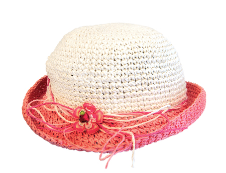 summer pink straw hat isolated on white background