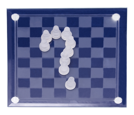 chessboard from glass chess isolated on white background Stock Photo