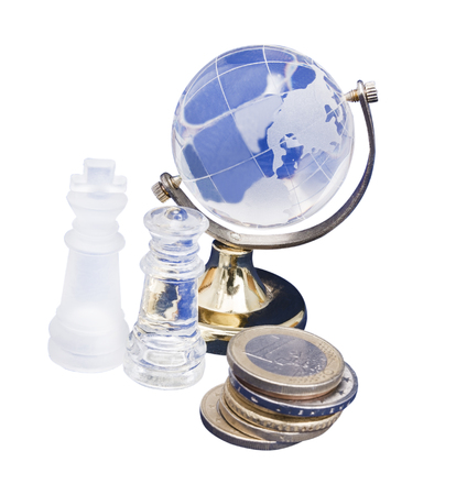 man made: world of chess and euro isolated on white background