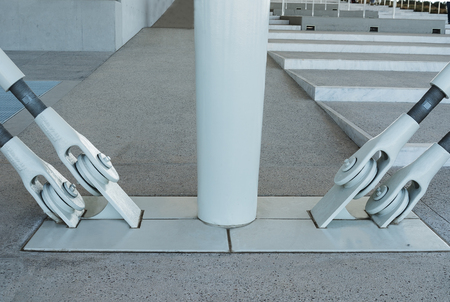 metal white fastening in an architectural building Stock Photo