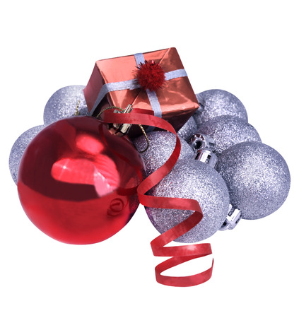 christmas silver balls, red ribbon and red gifts isolated on white background Stock Photo