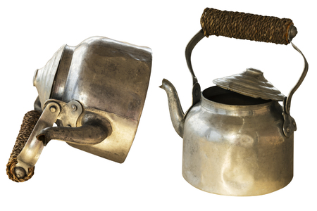vintage aluminium tea pot isolated on white background