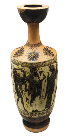 antique greek amphora with mythical heroes isolated on the white background