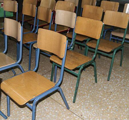 much beige school chairs closeup 写真素材