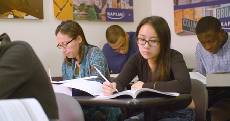 admissions: New York, New York - January 26, 2016 - Students practice for SAT standardized test Editorial
