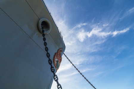 Old WWII sloop ship bow with Garuda sculpture ( HTMS Mae Klong ).