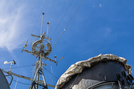 antique battle ship communication pole.
