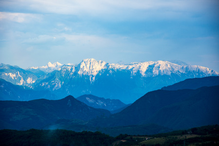 beautiful view to the mountain from the Prozor, Bosnian city Stock Photo