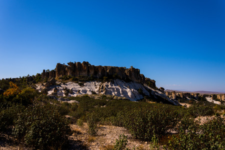 view to the rock formations  in Phrygian Valley in Afyon Stock Photo