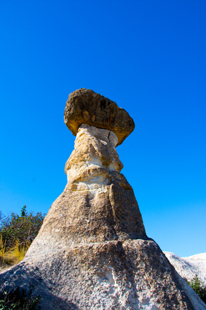 view to the rock formations in shape of mushroom in Phrygian Valley in Afyon