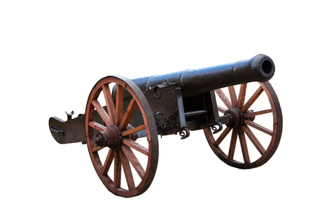 Old ottoman cannon On the white background ready to be used for photomontages Stock Photo