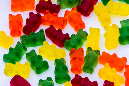 closeup shoot of the colorful and delicious gummy bears