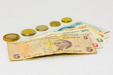 different values of the paper bills and coins of turkish liras